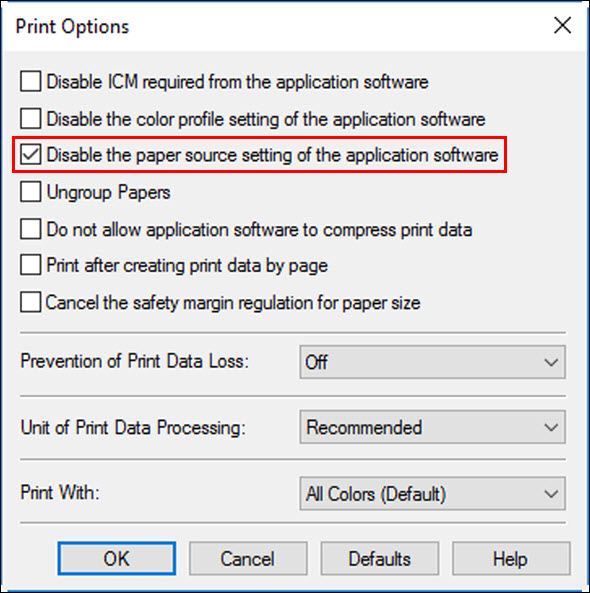 Place a check in the box for Disable the paper source setting of the application software (outlined in red)