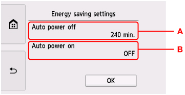 Energy saving settings screen