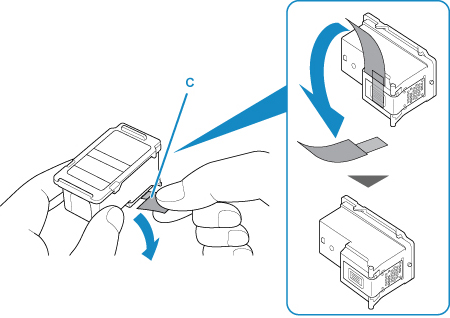 Image shows how to remove the protective tape away from the cartridge