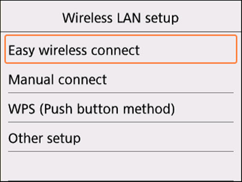 Wireless LAN setup screen: Easy wireless connect selected