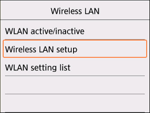 Wireless LAN screen: Select Wireless LAN setup