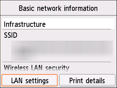 Basic network information screen: Select LAN settings