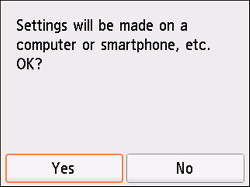Easy wireless connect screen: Settings will be made on a computer or smartphone, etc.