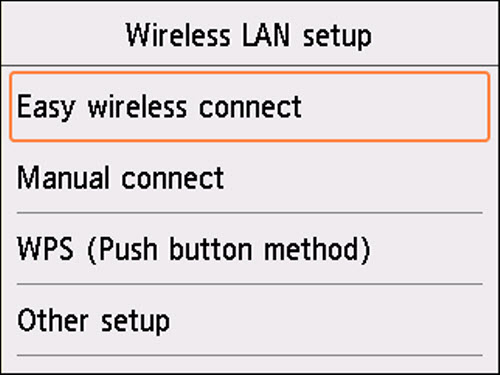 Other setup screen: Select Easy wireless connect