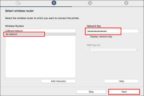 Select wireless router screen. Network name, Network Key entry field and Next button outlined in red