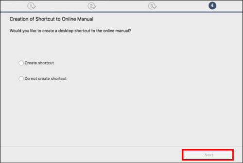 Choose whether or not to create a shortcut for the online manual, then click Next (outlined in red)