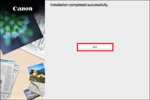 Installation completed successfully. Click Exit (outlined in red) to proceed