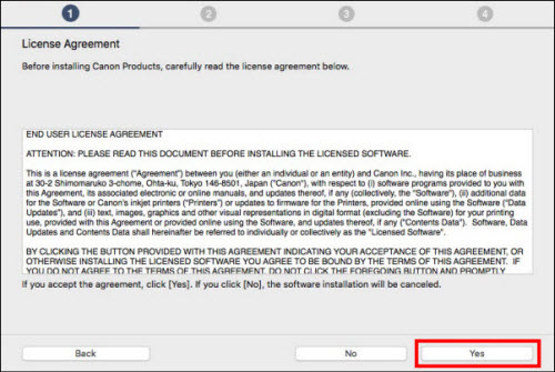 Read the license agreement, then click Yes (outlined in red) to proceed