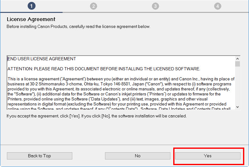 License Agreement. Select Yes.