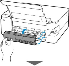 Insert the projections of the right side of the rear cover into the printer