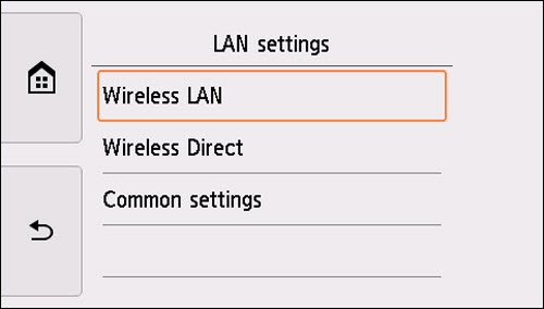 LAN settings screen: Select Wireless LAN
