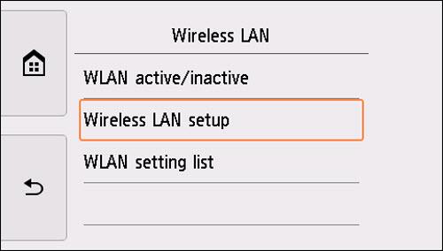 Wireless LAN screen: Select Wireless LAN setup