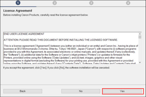 License Agreement screen: Read the license agreement, then click Yes to proceed