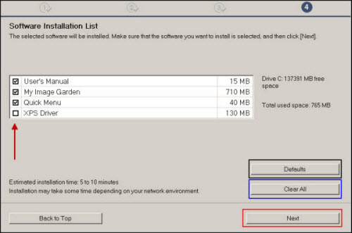 Software Installation List: Select additional software to install, then click Next (outlined in red)