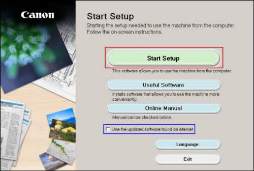 Start Setup screen: Click Start Setup (outlined in red)