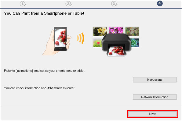 You Can Print from a Smartphone or Tablet screen: click Next (outlined in red)