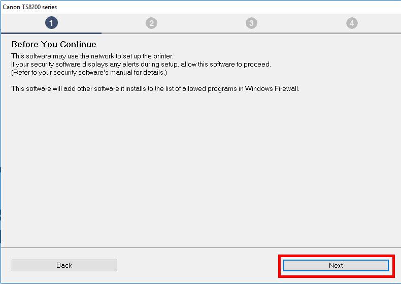 Security screen: select Next