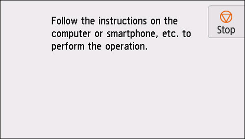 Easy wireless connect screen: Follow the instructions on the computer or smartphone, etc. to perform the operation.