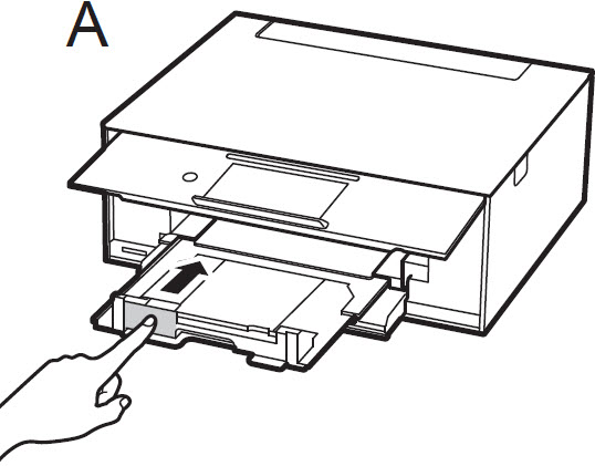 Image of printer showing how to close the paper output tray with your finger