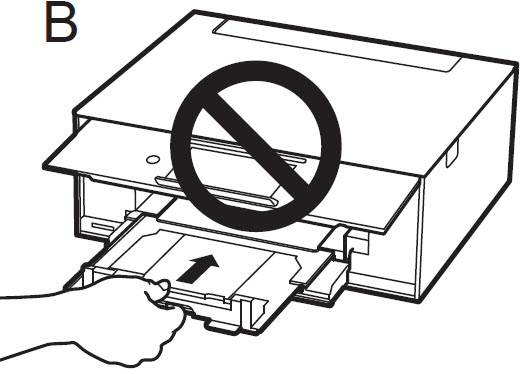 Image of printer showing how not to close the paper output tray by grasping the edge of the tray with your fingers