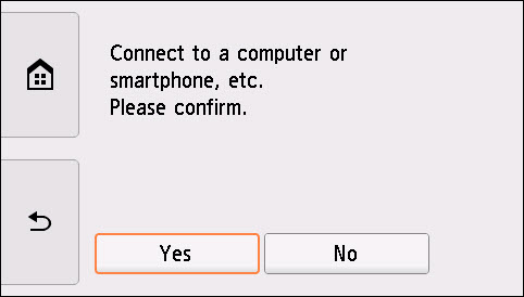 Easy wireless connect screen: Select Yes