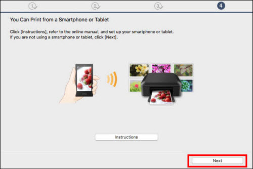 You Can Print from a Smartphone or Tablet screen, Next button outlined in red