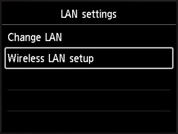 With Wireless LAN setup selected, press the OK button