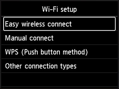 Select Easy wireless connect, then press the OK button