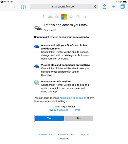 Canon Knowledge Base - Unable to Log Into OneDrive or OneNote from