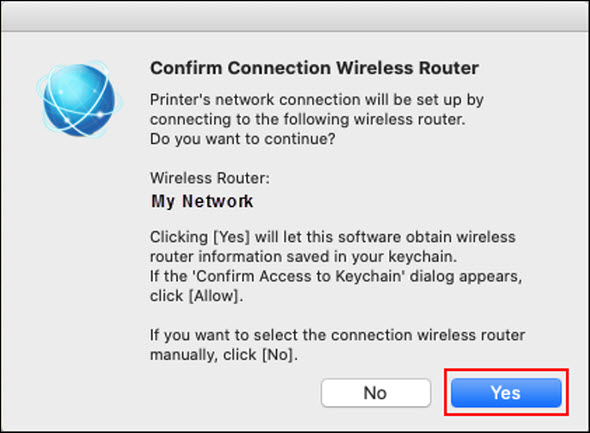 Confirm that your router appears in this window, then click Yes (Outlined in red)