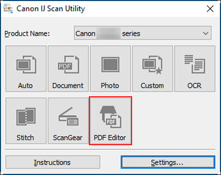 Click the PDF Editor button (outlined in red) to open the PDF Editor
