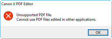 Figure; Unsupported PDF file. Cannot use PDF files edited in other applications.