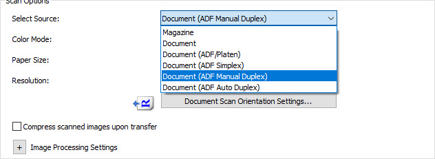 Document ADF Manual Duplex selected from drop-down