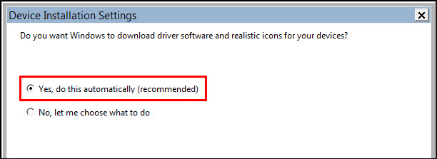 Image of Device Installation Settings screen with Yes, do this automatically (recommended) highlighted