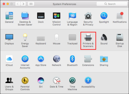 Printers & Scanners selected from System Preferences