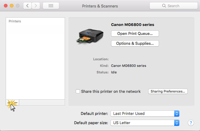 Figure shows clicking on printer list to re-add the printer