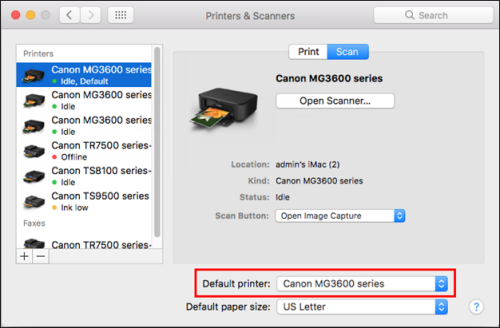 Canon MG3600 series shown selected as the example default