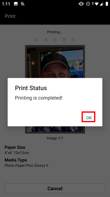 Tap OK to complete printing