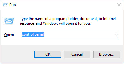 "Run dialog box with ""control panel"" typed into the Open: field"
