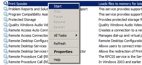 Image: Services window screen with Print Spooler highlighted, then Start selected from the drop down menu.