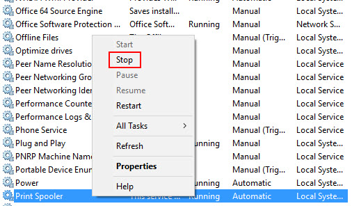 Image: Services window screen with Print Spooler highlighted, then Stop selected from the drop down menu.