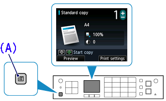 Illustration of operation panel: Menu button highlighted in inset