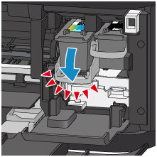 Image shows pushing down on ink cartridge lever