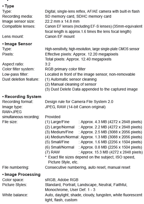 Canon Knowledge Base - Specifications for the EOS Digital