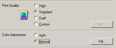 On The Main Tab Select Manual For Color Adjustment And Then Click Set Button
