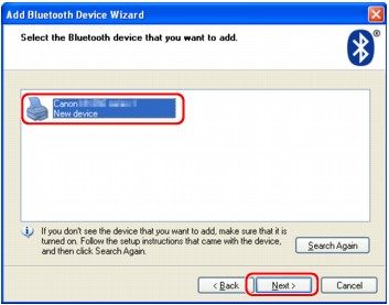 figure:Add Bluetooth Device Wizard (Device Select)
