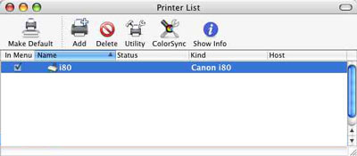 From the Printer List window, All Printers, and Delete are selected