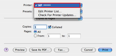 In The Printer Pop Up Menu Select You Are Using