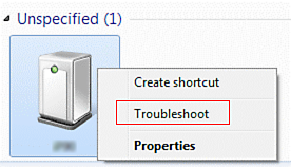"Image of ""Unspecified"" screen with Troubleshoot highlighted in the menu options"