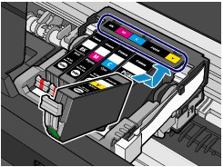Figure shows ink tank being slanted down toward the back of the machine, then inserted